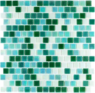 URBN Contemporary Mixed Green Iridescent Glass Mosaic Tile with Staggered Design for Kitchen and Bath - Sample Tile (4-1/3 inches x 4-1/3 inches, 0.13 SQ FT)