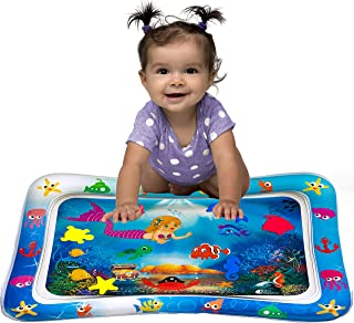 Wise Hedgehog Tummy Time Mat - Inflatable Baby Water Play Mat, Great for 3 6 9 Month Girl Boy, Magical Underwater Scene Baby Will Love