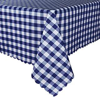 TUBEROSE Blue and White Checkered Rectangle Table Cloth - Stain Resistant Waterproof Picnic Gingham Tablecloth for Outdoor Indoor, 60 x 120 Inch