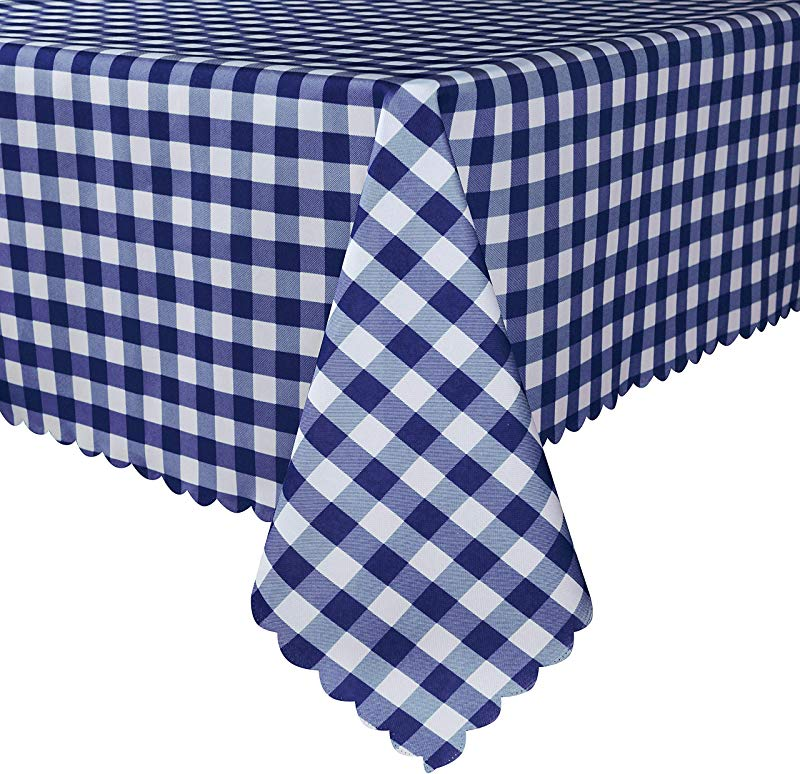 TUBEROSE Blue And White Checkered Rectangle Tablecloth Stain Resistant Waterproof Picnic Gingham Table Cloth For Outdoor Indoor 60 X 84 Inch