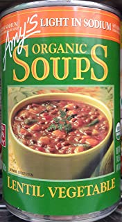 Amy's Light in Sodium Organic Soups Lentil Vegetable 14.5oz Can (Pack of 8)