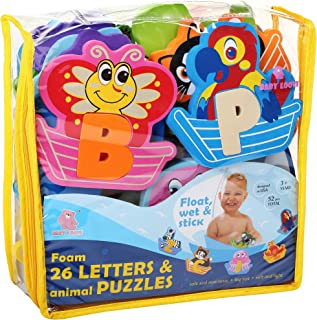 Foam Bath Toys 100% Non-Toxic Bathtub Alphabet - Free Bath Toy Organizer - Fun Foam Puzzles - Educational Floating Toys for Boys Girls - Early Learning Letters Animals Colors - 52 Pcs - Set №2