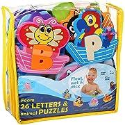 Foam Bath Toys 100% Non-Toxic Bathtub Alphabet - Free Bath Toy Organizer - Fun Foam Puzzles - Educational Floating Toys for Boys Girls - Early Learning Letters Animals Colors - 52 Pcs - Set №2