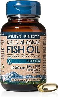 Wiley's Finest Peak EPA DHA, 1000mg Omega-3s,NSF-Certified, Wild Alaska-Caught Fish Oil, 30 Softgels