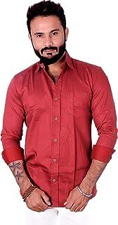 REBANTA Mens Formal Shirt Maroon Dotted Full Sleeves