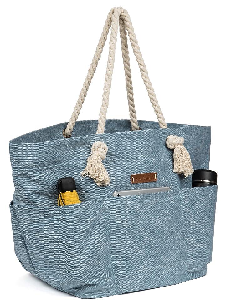 Malirona Large Canvas Beach Bag Shoulder Bags,6 pockets,44L, Weekend Holiday Perfect Bag