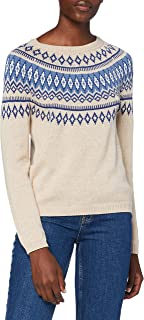 Springfield Jersey Jacquard Cenefas Azules Pullover Sweater Mujer