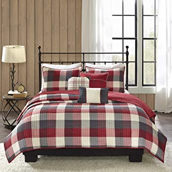 """Madison Park Reversible Quilt Cabin Lifestyle Plaid Design All Season, Breathable Coverlet Bedspread Bedding Set, Matching Shams, Full/Queen(90""""x90""""), Red 6 Piece"""