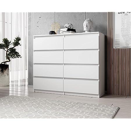 FURNIX Commode avec 8 tiroirs 120 x 37 x 99 cm en blanc mat – Commode multi-usages en bois pour couloir, chambre, salon, salle de bain, chambre d'enfant avec protection anti-basculement