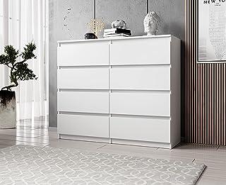FURNIX Commode avec 8 tiroirs 120 x 37 x 99 cm en blanc mat – Commode multi-usages en bois pour couloir, chambre, salon, s...