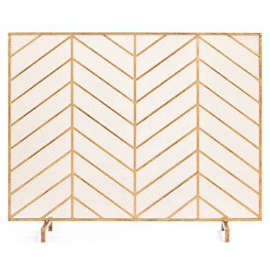 Best Choice Products 38x31in Single Panel Handcrafted Iron Chevron Fireplace Screen w/Distressed Antique Gold Finish