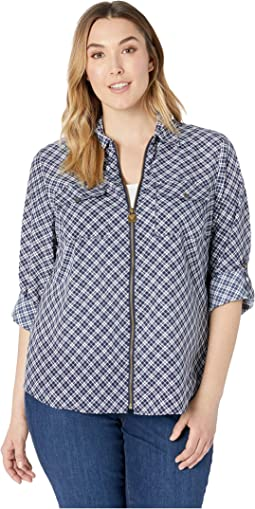 Plus Size Windowpane Plaid Lock Top