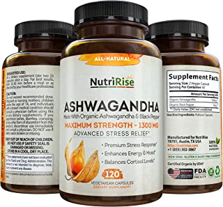 Ashwagandha 1300mg Made with Organic Ashwagandha Root Powder & Black Pepper Extract - 120 Capsules. 100% Pu...