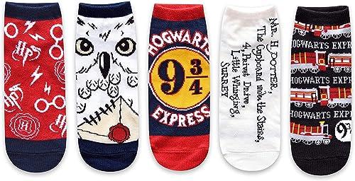 Harry Potter Hogwarts Express Hedwig Juniors/Womens 5 Pack Ankle Socks Size 4-10