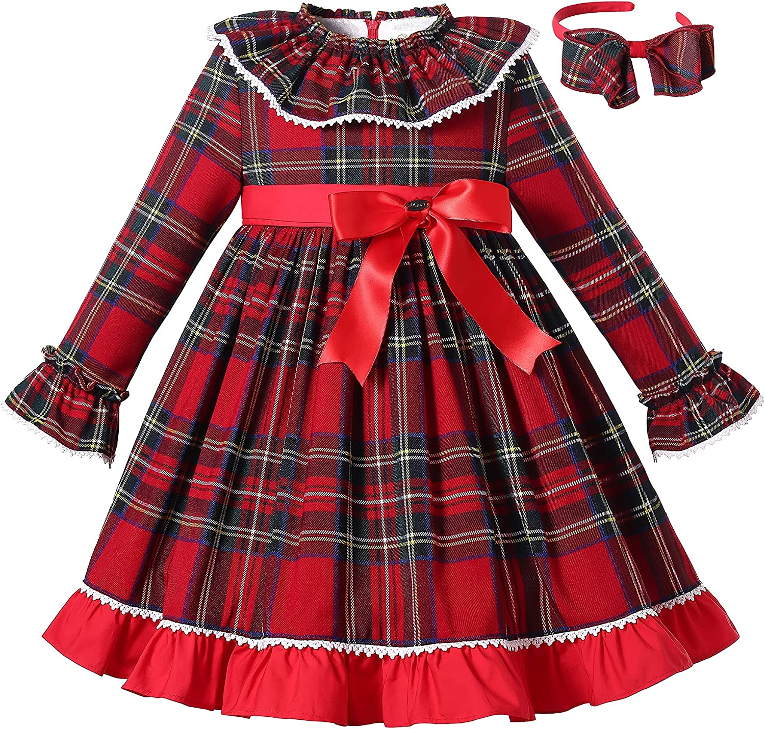 Kids 1950s Clothing & Costumes: Girls, Boys, Toddlers Pettigirl Girls Winter Christmas Red Plaid Long Sleeve Ruffle Clothing Kids Toddler Vintage Formal Party Dresses Outfit  AT vintagedancer.com