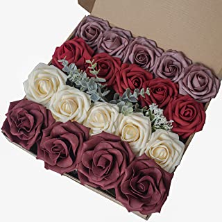Breeze Talk Artificial Flowers Roses Dark Red Realistic Fake Roses w/Stem for DIY Wedding Bouquets Centerpieces Arrangements Party Baby Shower Home Decorations (Classic Dark Red)