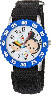 DISNEY Boys Tsum Stainless Steel Analog-Quartz Watch with Nylon Strap, Black, 16 (Model: WDS000116