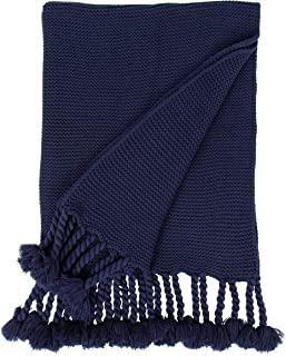Kate and Laurel Foley Large Chunky Ribbed Knit Throw Blanket with Rope Tassels, 74 x 50-inches, Navy Blue