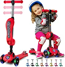2-in-1 Scooter for Kids with Folding Removable Seat Zero Assembly – Adjustable Height Kick Scooter for Toddlers Girls & Boys 2-12 Years-Old – Fun Outdoor Toys for Kids Fitness 3 LED Flashing Wheels