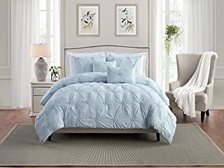 Swift Home Premium Bedding Set Collection 3-Piece Floral Ruched Pinch Pleat Pintuck Comforter Set - King/California King, Baby Blue