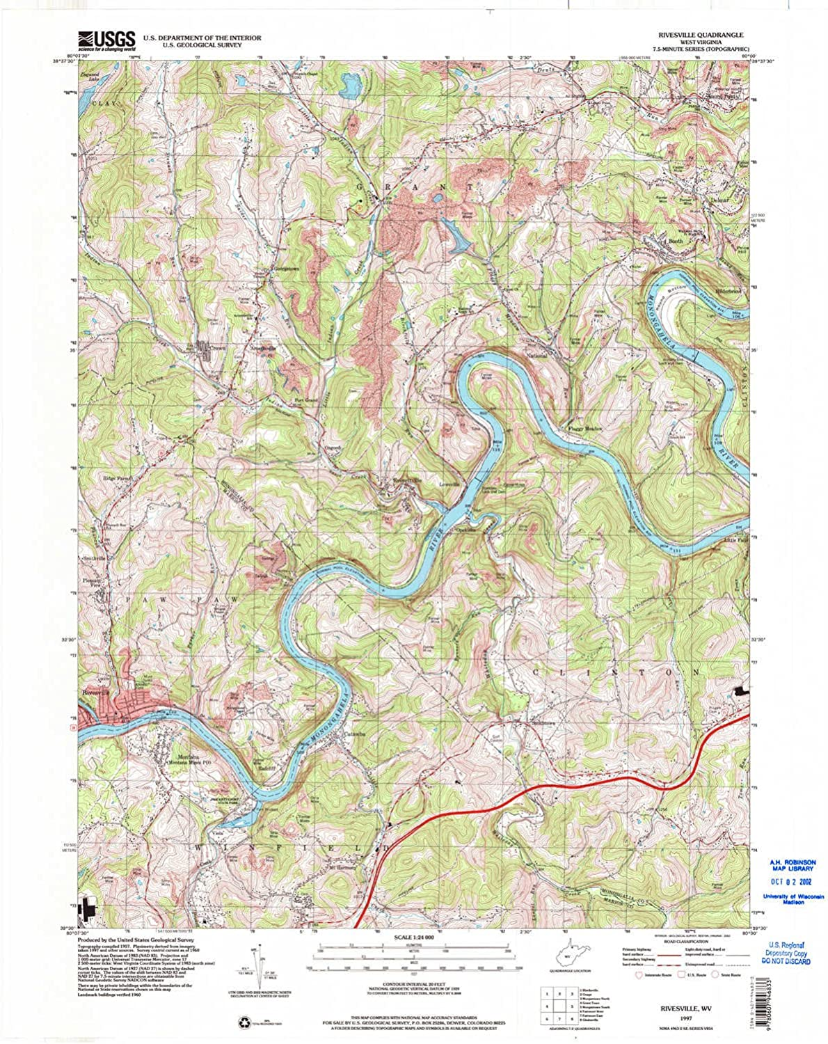 Rivesville WV topo map, 1 24000 Scale, 7.5 X 7.5 Minute, Historical, 1997, Updated 2002, 27.4 x 22 in
