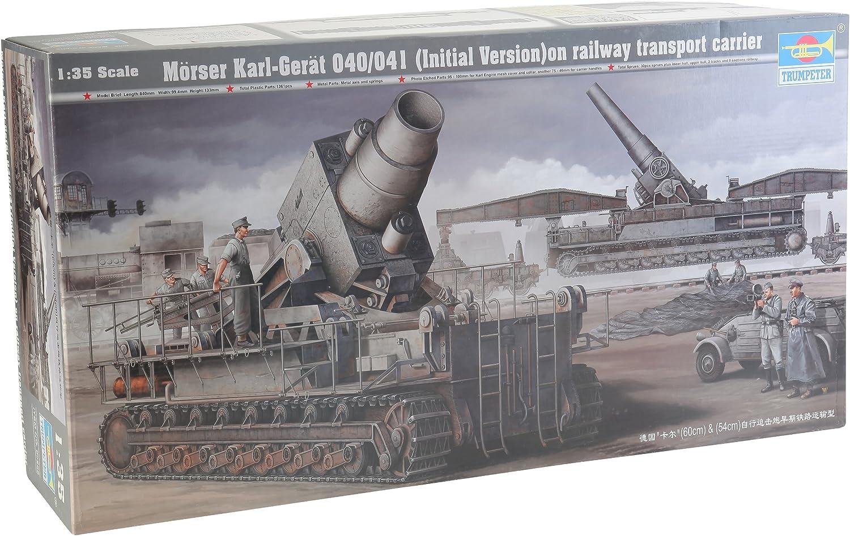 Trumpeter 00208 Modellbausatz Mrser Karl Gert 040 041 auf Eisenbahn-Transport-Trailer