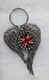 Union Jack Memorial Keychain Guardian Angel Wings British Remembrance