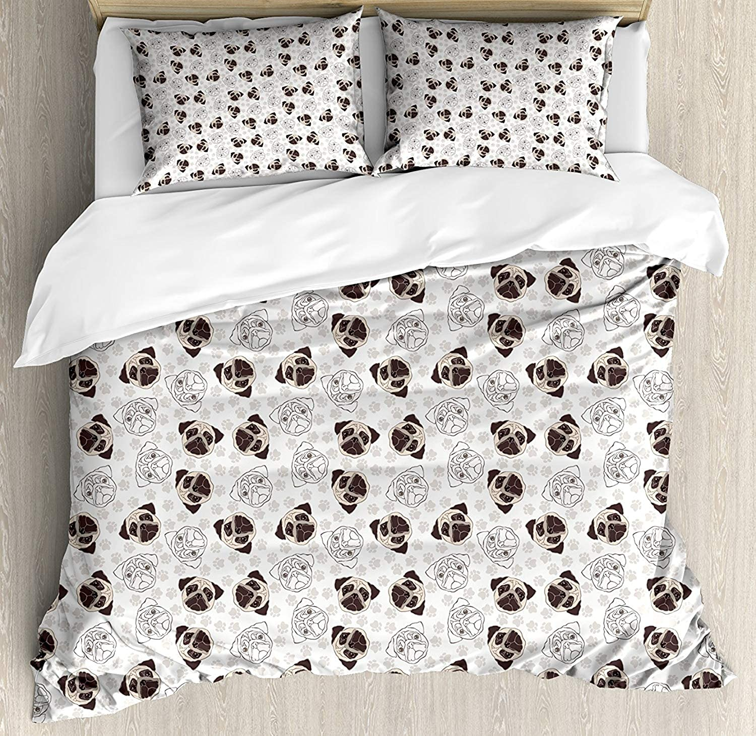 OxOHome Dog Bedding SetsPug Portraits Traces Paw Print Background Canine Pet Illustration Mammal Animal Duvet Cover Sets Beige Brown Tan Twin Bedding Comforter Cover Sets Soft Bedding Collections