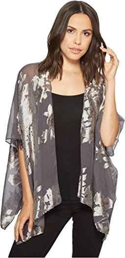 Garden Floral Satin Burnout Cover-Up