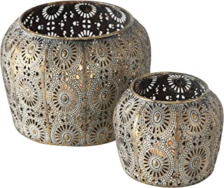 Daisy Hurricane Lantern Set, Lattice, Mandala Pattern Metal Work, Distressed Gold, White Gray Patina, Iron, 1- large 7 Diameter x 5 Tall inches, and 2 - Small 4.25 Diameter x 4 Tall inches