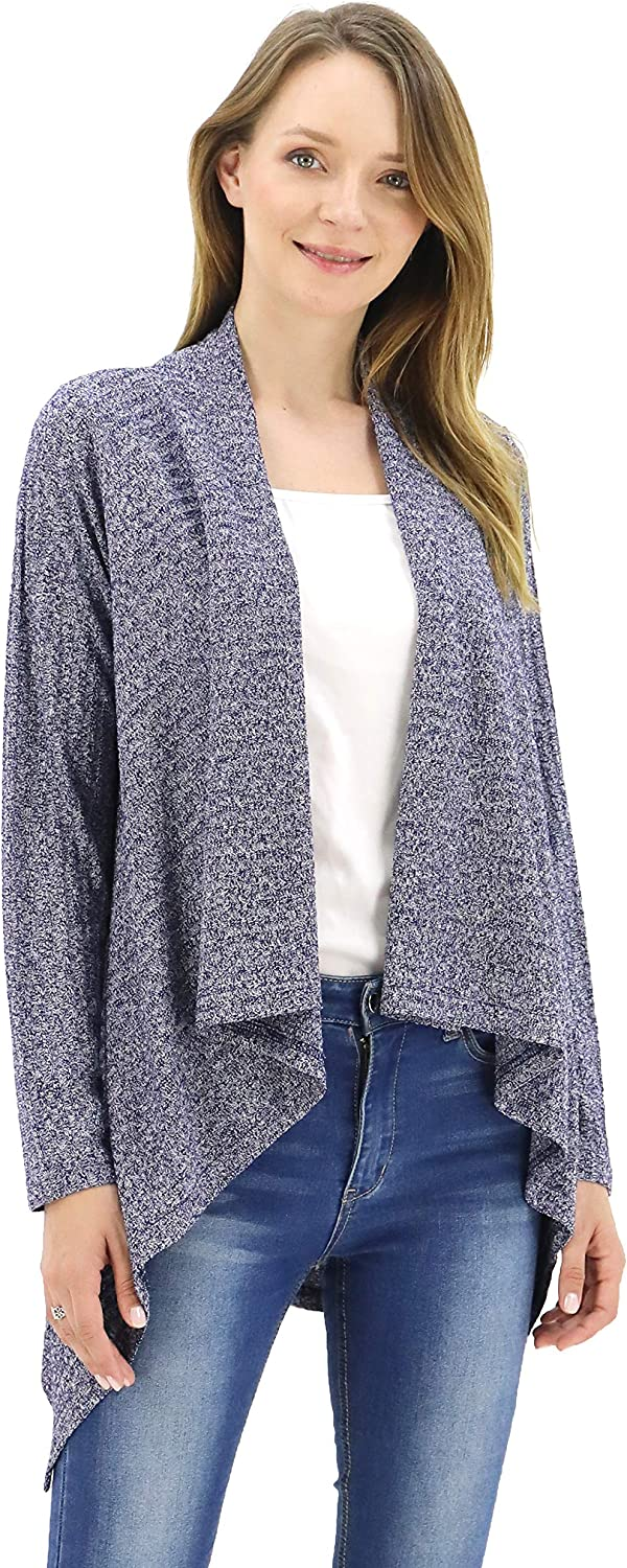BENANCY Women's Open Front Long Sleeve Cable Stitch Short Sweater Cardigan