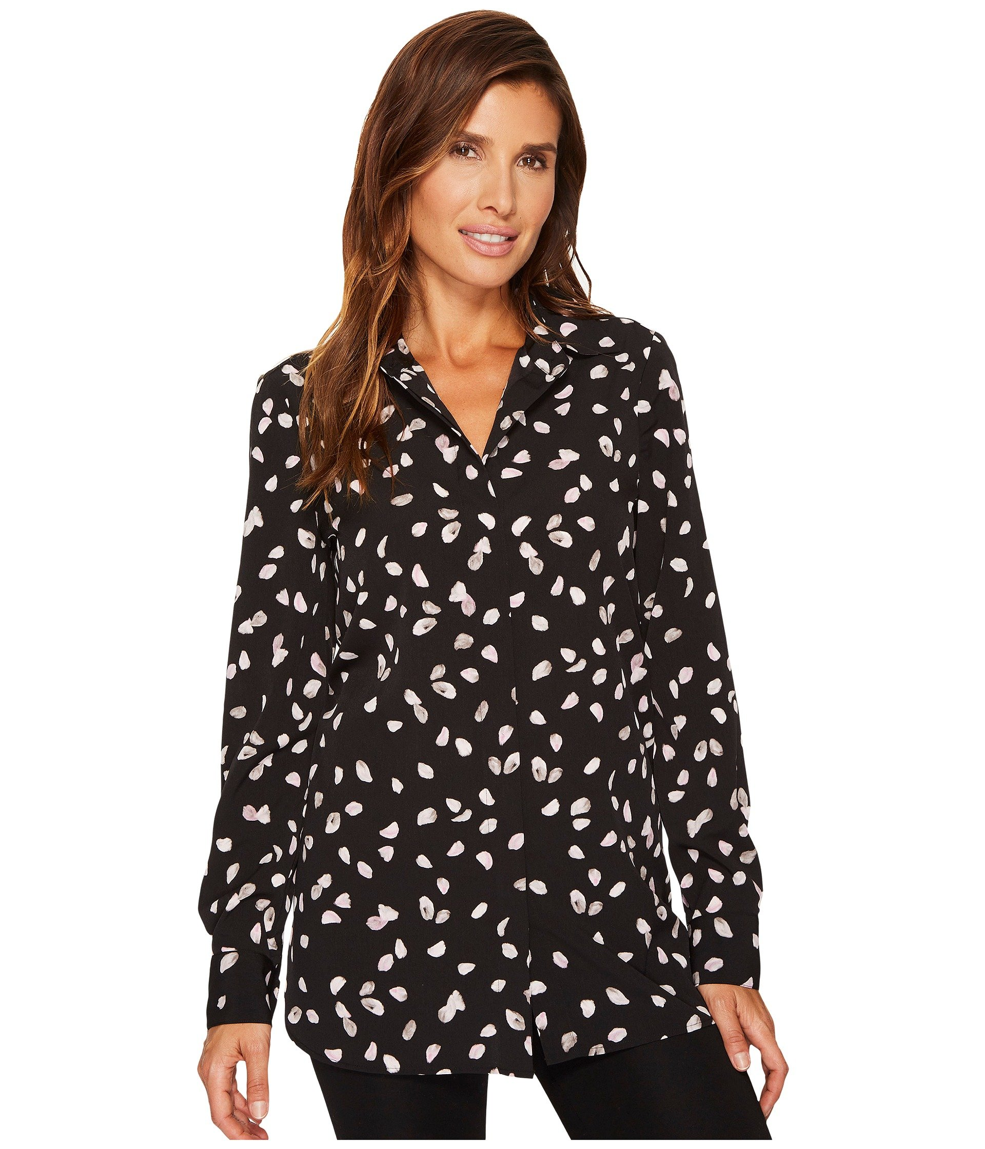 ELLEN TRACY Boyfriend Shirt, Petals E Black