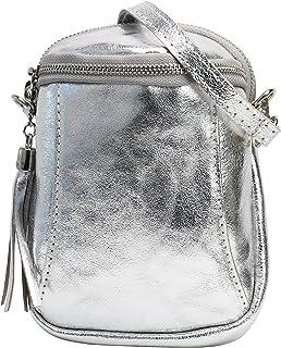 SH Leder Damen Handytasche Umhängetasche Geldbörse Multifunktion Beutel Schultertasche aus Echtleder Verstellbar Schulterg...