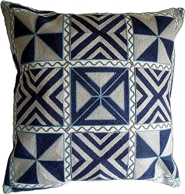 MGTAVC2028OP26 Size: 26X26X6 - KAVKA Designs Aztec Light Blue Indoor-Outdoor Pillow, Beige//Blue - NAVAJO Collection