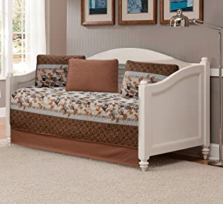 Luxury Home Collection 5 Piece Daybed Quilted Reversible Coverlet Bedspread Set Floral Printed Leaves Taupe Beige Brown Li...
