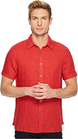 Regular Fit Short Sleeve Solid Linen Shirt