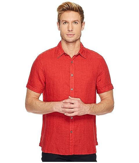 perry ellis regular fit short sleeve solid linen shirt