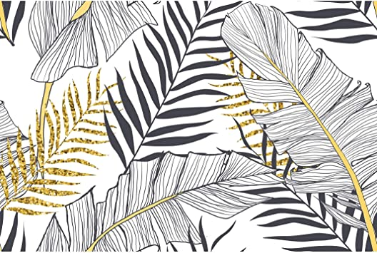 Amazon Com Seamless Banana Palm Leaves Removable Wallpaper 10 Ft H X 24 Inch W Gold Grey White Tropical Modern Contemporary Vinyl Everything Else