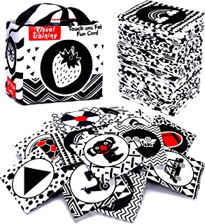 Black and White Soft Flash Cards,Nontoxic Fabric Baby Cloth Activity Crinkle with Storage Bag for Infants Boys and Girls E...