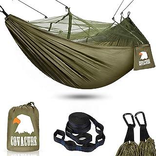 COVACURE Camping Hamaca con Mosquitero, 2 Arboles Correas/Mosquetones/Cuerdas/Doble Portátiles al Aire Libre Ligero Hamaca de Nylon para Camping Excursiones de Senderismo Viajes y Jardín