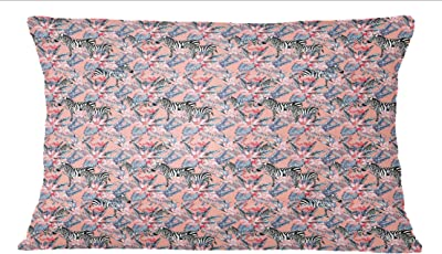 Horse Face Print Cotton Poplin Brown 2 Pcs Home Decorative Rectangle Pillow Sham