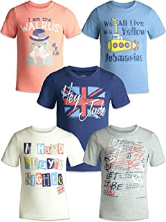 The Beatles Lyrics Boys Girls 5 Pack T-Shirts Blue, Red, White, Navy, Grey