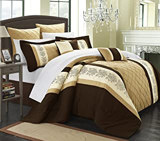 Chic Home Livingston 8-Piece Embroidered Comforter Set Embroidery Pattern Bedding with Bed Skirt and Decorative Pillows Shams, King Gold