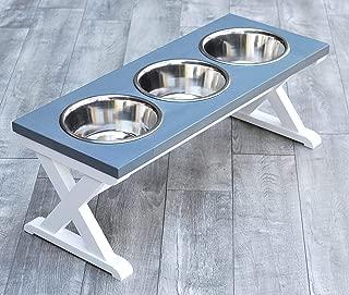 Large Three Bowl X Pattern Farmhouse Dog Bowl Stand