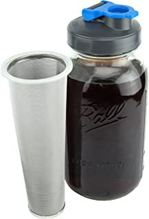 Cold Brew Mason Jar Coffee Maker by County Line Kitchen - 2 Quart, 64 oz � Durable Glass Jar, Heavy Duty Stainless Steel Filter, Flip Cap Lid For Easy Pouring, Save $ - Easily Make Your Own Cold Brew