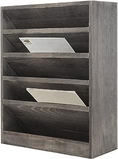 MyGift Vintage Gray Wood Wall-Mounted 5-Slot Document Filing Organizer Rack