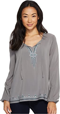 Cruel - Long Sleeve Embroidered Rayon Blouse