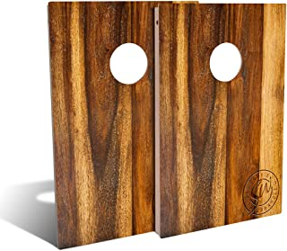 Slick Woody�S Treated Oak Cornhole Set with 8 Cornhole Bags, Baltic Birch Plywood Tops for The Smoothest Flattest Playing Surface, and UV Protected Printed Design (Tailgate 3�x2�)