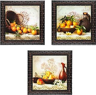 Indianara Set of 3 Fruits Basket and Water Jug Kitchen Dining Framed Wall Hanging Laminated Paintings Matt Art Prints 9 in...