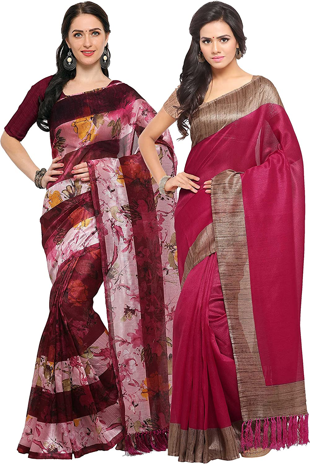 Rajnandini Wine And Magenta Tussar Silk Printed Party Wear Saree (Combo Of 2)